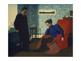 Interior With Red Armchair and Figures Giclee Print by Félix Vallotton