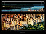 Window View with Venetian Blinds: Central Park View at Sunrise - Upper West Side Photographic Print by Philippe Hugonnard