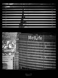 Window View with Venetian Blinds: Tops of Metlife and Chrysler Buildings Photographic Print by Philippe Hugonnard