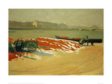 Seine Riverbank with a Pile of Red Sand Giclee Print by Félix Vallotton