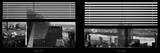Window View with Venetian Blinds: Skyscrapers View of Manhattan at Nightfall Photographic Print by Philippe Hugonnard