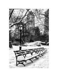 A Bench and Lamppost Snow in Central Park Photographic Print by Philippe Hugonnard