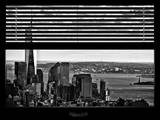Window View with Venetian Blinds: Cityscape with One World Trade Center and Statue of Liberty Photographic Print by Philippe Hugonnard