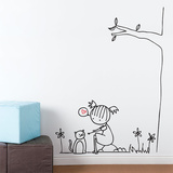 Purring Cat Wall Decal Wall Decal