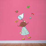 Little Girl with Butterflies Wall Decal Wall Decal