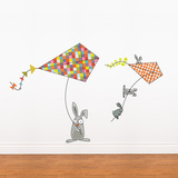 Bunnies and kites Wall Decal Wall Decal