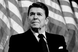 Ronald Reagan American Flag Black White Photo