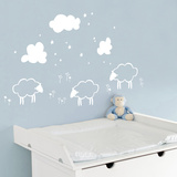 Little Sheeps - White Wall Decal Wall Decal
