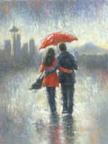 Seattle Lovers in the Rain Prints by Vickie Wade