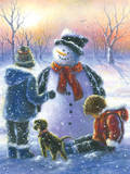 Chubby Snowman Boy and Girl Art by Vickie Wade
