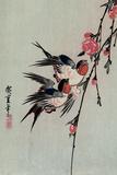 Utagawa Hiroshige Gekka Momo ni Tsubakura Moon Swallows and Peach Blossoms Art