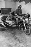 Dog in Motorcycle Sidecar Poster Photo
