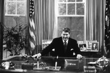 Ronald Regan Desk Oval Office Black White Photo