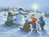 Snowman and Four Boys Art by Vickie Wade