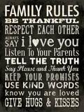 Family Rules Black Poster van Stephanie Marrott