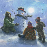 Snowman and 3 Boys Prints by Vickie Wade