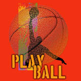 Play Ball - Basketball (Red) Prints by Jim Baldwin