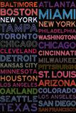 Major League Baseball Cities Colorful Poster
