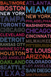 Major League Baseball Cities Colorful Poster