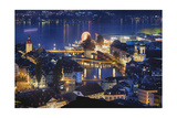 Lucerne Old Town Night Scenic, Switzerland Photographic Print by George Oze