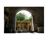 Reading the Tour Guide Under an Arch in Athens Photographic Print by Diane Strain