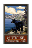 PAL 809 Glacier National Park Black Bears Lake Photographic Print by Paul A Lanquist