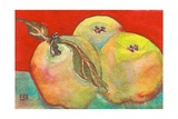 Three Apples with Red Background Photographic Print by Blenda Tyvoll