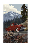 Mount Rainier Pickup Truck Photographic Print by Paul A Lanquist