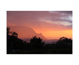 Sunset And Rain Over Hanalei Bay, Kauai Photographic Print by Ronald A Dahlquist