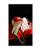 Two Martial Arts Boxing Gloves On Gym Bench Photographic Print by Annmarie Young