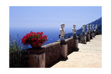 Terrace with Statues and Amalfi Coast View Photographic Print by George Oze