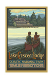 Canoers near Lake Crescent lodge Photographic Print by Paul A Lanquist