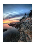 Bass Harbor Head Lighthouse at Sunset, Maine Photographic Print by George Oze