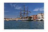 Tall Ship in Venice Harbor, Italy Photographic Print by George Oze