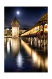Chapel Bridge Night Scenic, Lucerne, Switzerland Photographic Print by George Oze