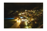 Positano Night Scenic View, Amalfi Coast, Italy Photographic Print by George Oze