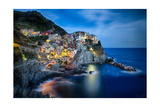 Manarola Night, Cinque Terre, Liguria, Italy Photographic Print by George Oze