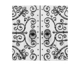 Black And White Photo Of Ornate Iron Church Door Photographic Print by Annmarie Young