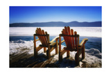 Adirondack Chairs on the Deck Photographic Print by George Oze