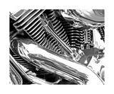 Black And White Chrome Motorcycle Engine Photographic Print by Annmarie Young