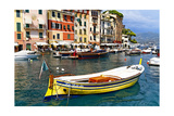Colorful Boats in Portofino Harbor, Italy Photographic Print by George Oze