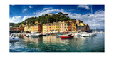 Wide View of Portofino Harbor, Liguria, Italy Photographic Print by George Oze