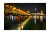 Scenic Night View of the Chapel Bridge, Lucerne Photographic Print by George Oze
