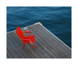 Red Chair On Boston Marina Deck Photographic Print by Annmarie Young
