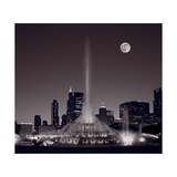 Buckingham Fountain Nightlight Chicago BW Photographic Print by Steve Gadomski