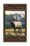 Mount Rainier Whistling Elk Pal 1224 Photographic Print by Paul A Lanquist