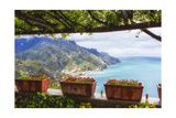 Amalfi Coast Vista from Under a Trellis Photographic Print by George Oze