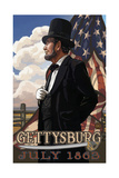 Gettysburg Lincoln with Flag PAL 955 Photographic Print by Paul A Lanquist