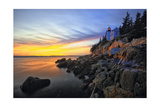 Lighthouse on a Cliff at Sunset, Bass Harbor, ME Photographic Print by George Oze