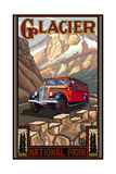 Glacier National Park Red Bus Photographic Print by Paul A Lanquist